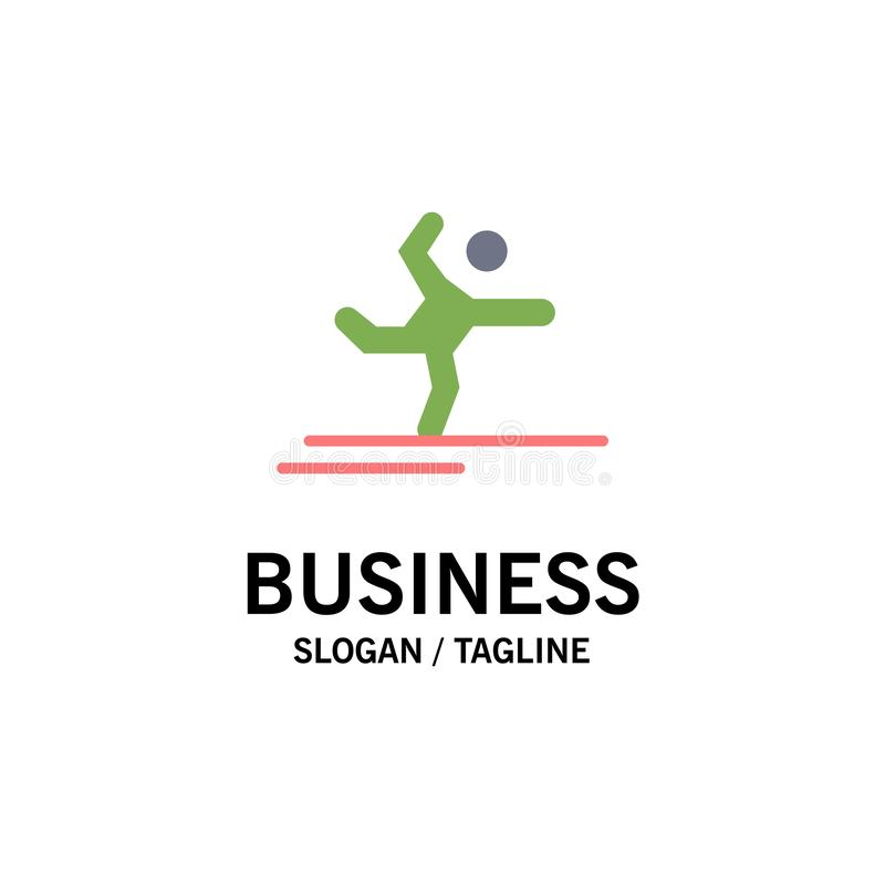 Athlete, Gymnastics, Performing, Stretching Business Logo Template. Flat Color vector illustration