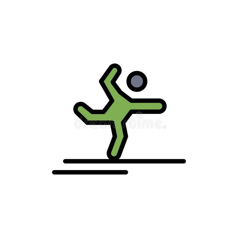 Athlete, Gymnastics, Performing, Stretching  Flat Color Icon. Vector icon banner Template vector illustration