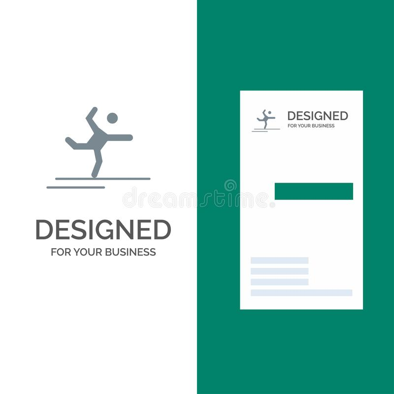 Athlete, Gymnastics, Performing, Stretching Grey Logo Design and Business Card Template stock illustration