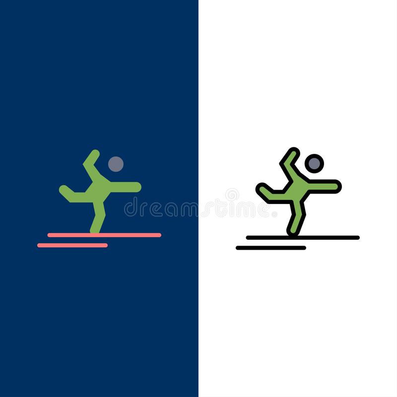 Athlete, Gymnastics, Performing, Stretching  Icons. Flat and Line Filled Icon Set Vector Blue Background stock illustration