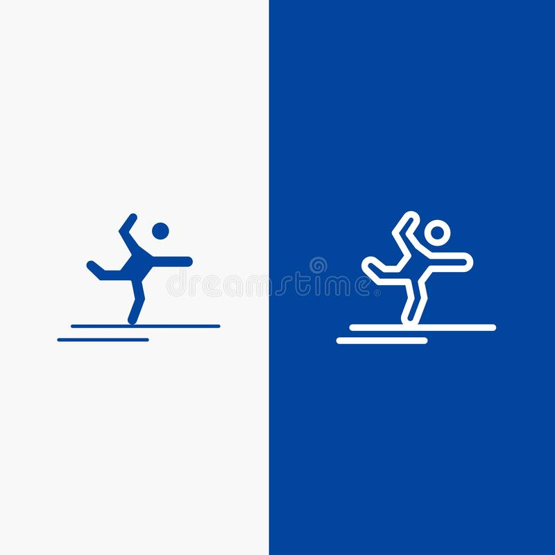 Athlete, Gymnastics, Performing, Stretching Line and Glyph Solid icon Blue banner Line and Glyph Solid icon Blue banner royalty free illustration