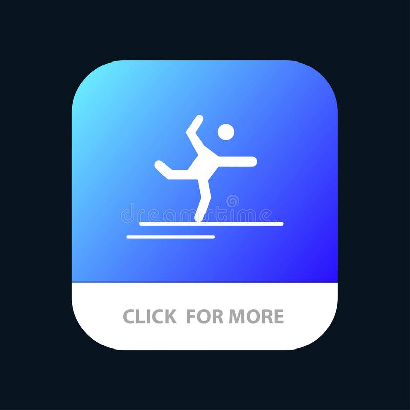 Athlete, Gymnastics, Performing, Stretching Mobile App Button. Android and IOS Glyph Version royalty free illustration