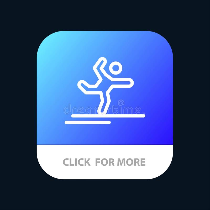 Athlete, Gymnastics, Performing, Stretching Mobile App Button. Android and IOS Line Version royalty free illustration