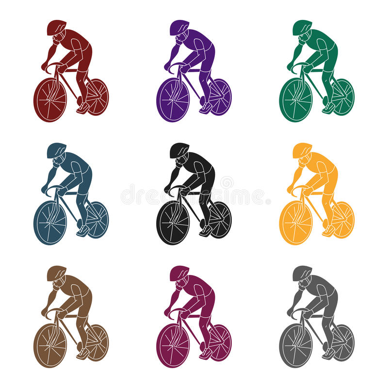 An athlete with a helmet riding his bike on the field.Cycling.active sports single icon in black style vector symbol. Stock web illustration royalty free illustration
