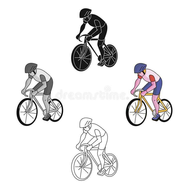 An athlete with a helmet riding his bike on the field.Cycling.Olympic sports single icon in cartoon style vector symbol. Stock web illustration vector illustration