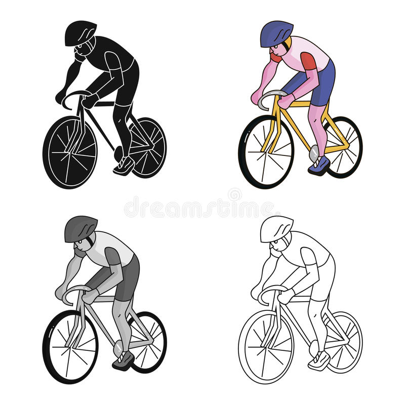 An athlete with a helmet riding his bike on the field.Cycling.Olympic sports single icon in cartoon style vector symbol. Stock web illustration stock illustration