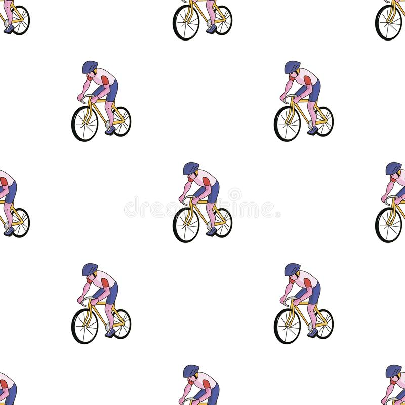 An athlete with a helmet riding his bike on the field. Cycling.Olympic sports single icon in cartoon style vector symbol stock web illustration stock illustration