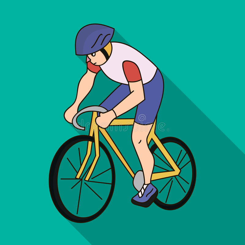 An athlete with a helmet riding his bike on the field.Cycling.Olympic sports single icon in flat style vector symbol. Stock web illustration royalty free illustration