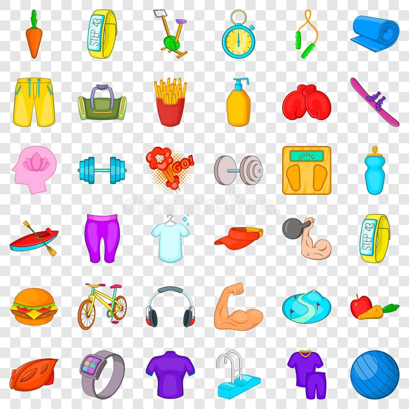 Athlete icons set, cartoon style. Athlete icons set. Cartoon style of 36 athlete vector icons for web for any design royalty free illustration