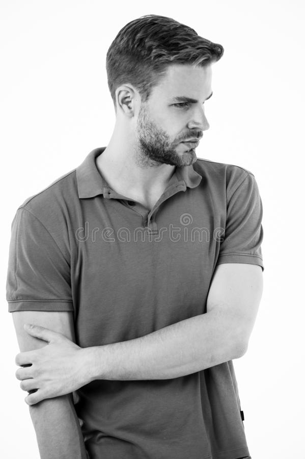 Athlete injured elbow joint. Man suffers old trauma chronic pain elbow white background. Sportsman risks taker. Exercising physical trauma. Guy painful face stock images