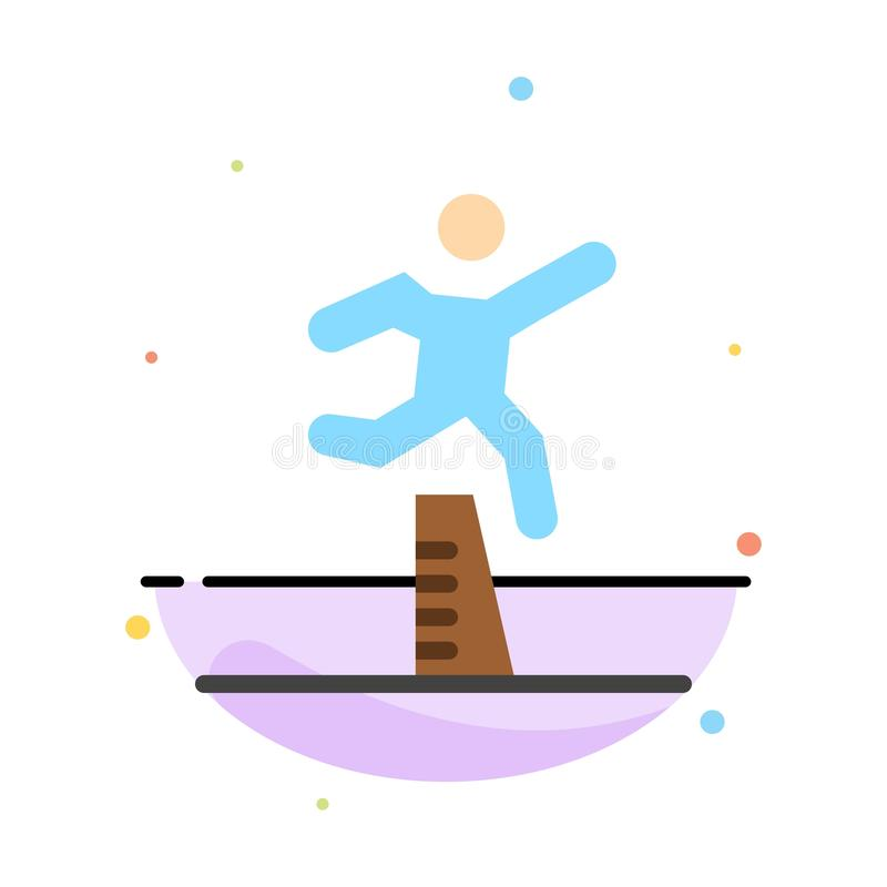 Athlete, Jumping, Runner, Running, Steeplechase Abstract Flat Color Icon Template royalty free illustration