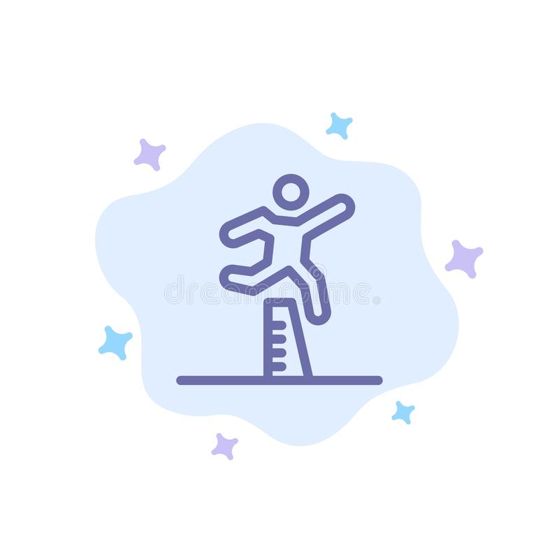 Athlete, Jumping, Runner, Running, Steeplechase Blue Icon on Abstract Cloud Background stock illustration