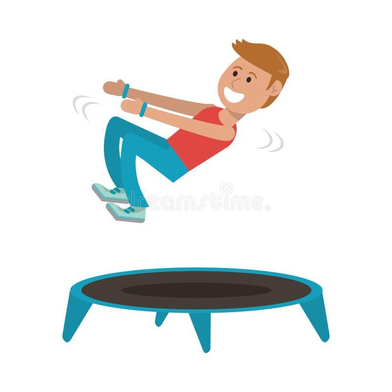 Athlete jumping in trampoline. Athlete man jumping in trampoline vector illustration graphic design royalty free illustration