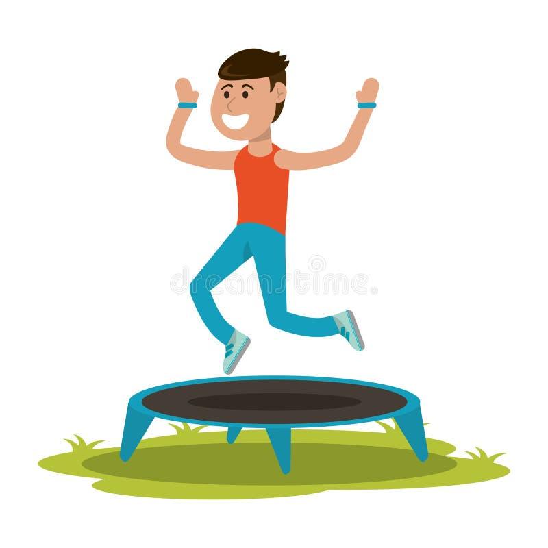 Athlete jumping in trampoline. Athlete man jumping in trampoline vector illustration graphic design stock illustration
