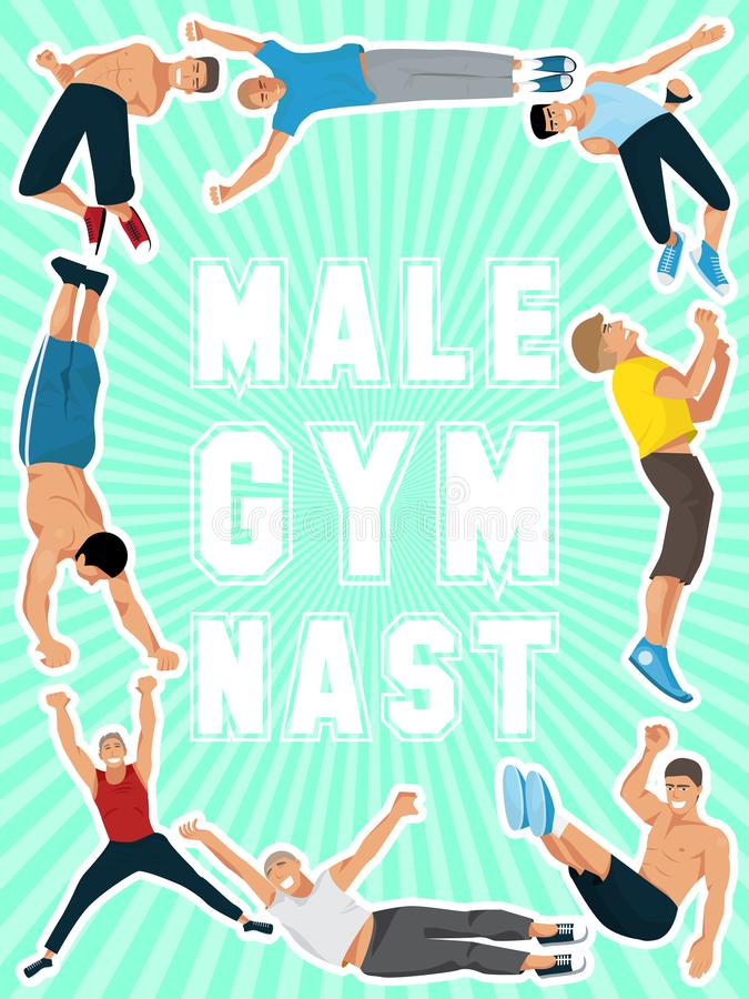 Athlete man poster vector illustration. Gymnastics training. Exercising male gymnast in different poses. Man figures are stock illustration