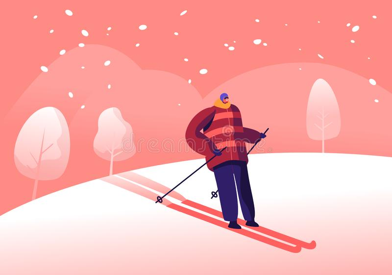 Athlete Man in Warm Clothes, Helmet and Sunglasses Skiing. Skier Riding Downhills at Winter Season. Sport Activity. Mountain Resort with Snow, Recreation royalty free illustration
