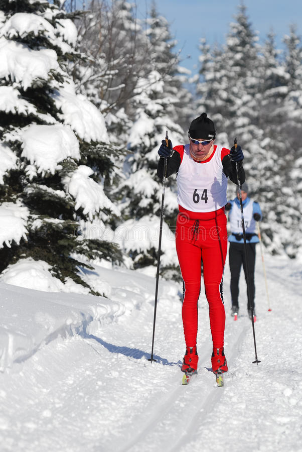 Athlete in men ski cross-country running winter competition in snow covered landscape with tree. LIBEREC, CZECHIA - MARCH 16, 2017: Athlete in men ski cross royalty free stock image