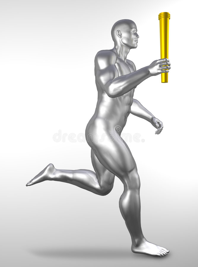 Athlete with olympic torch stock illustration