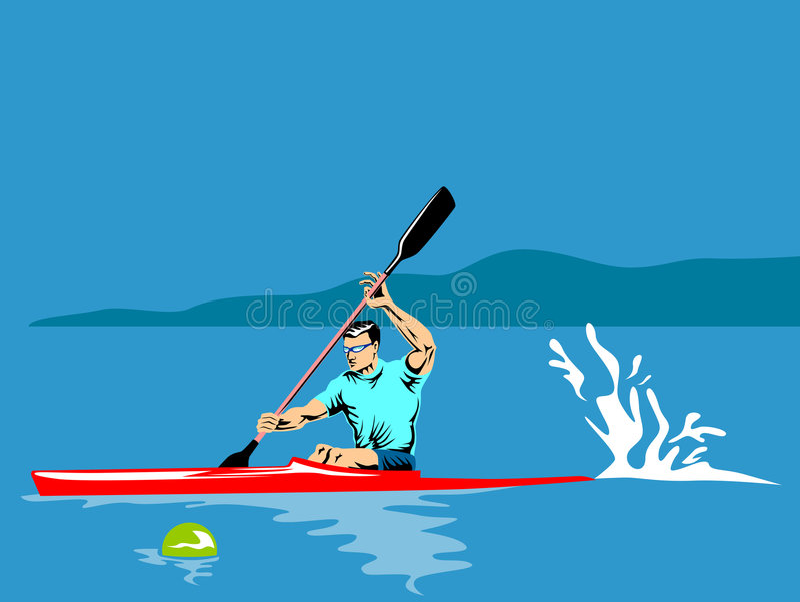 Download Athlete Paddling On A Kayak Stock Vector - Illustration of paddling, rowing: 4531180