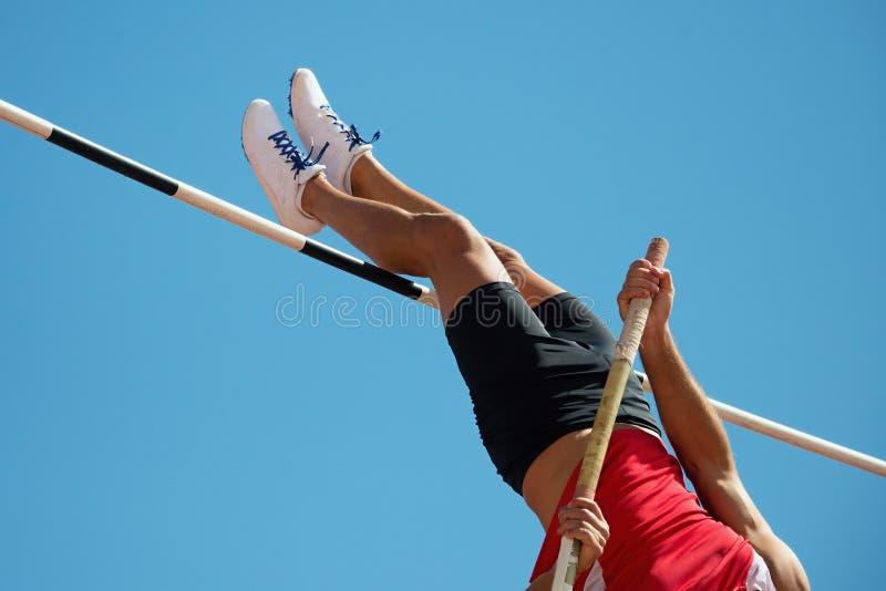 Athlete pole vault royalty free stock photos