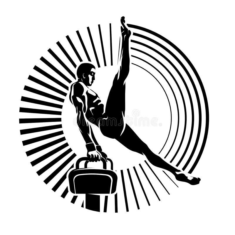 Athlete on the pommel horse. royalty free illustration