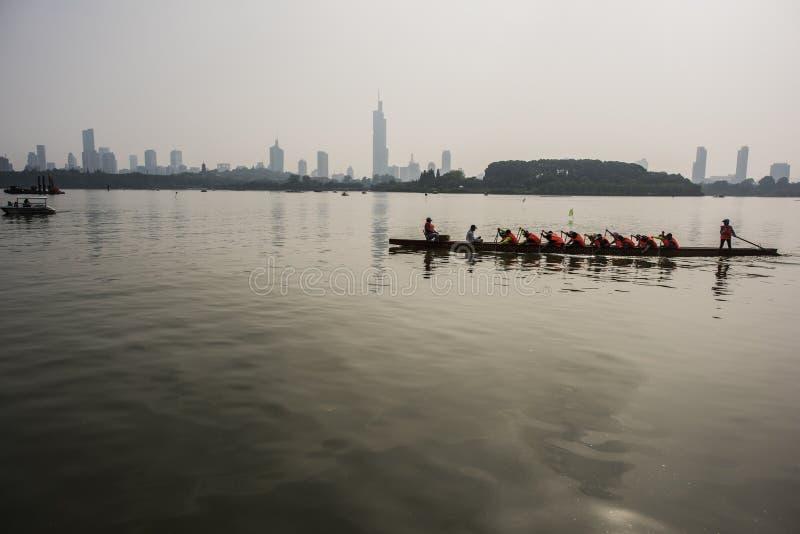 Athlete practicing kayaking in Xuanwu Lake Park stock photo