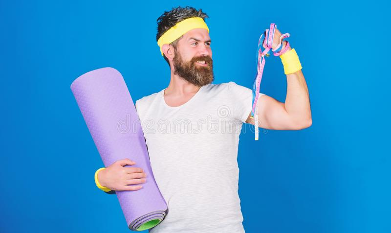 Athlete guide stay in shape. Athlete professional coach motivated for training. Old school aerobics concept. Athlete. Athlete professional coach motivated for royalty free stock photography