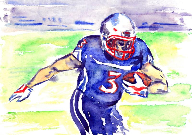 Athlete rugby player running with the ball on the football field of the stadium, hand painted watercolor royalty free illustration