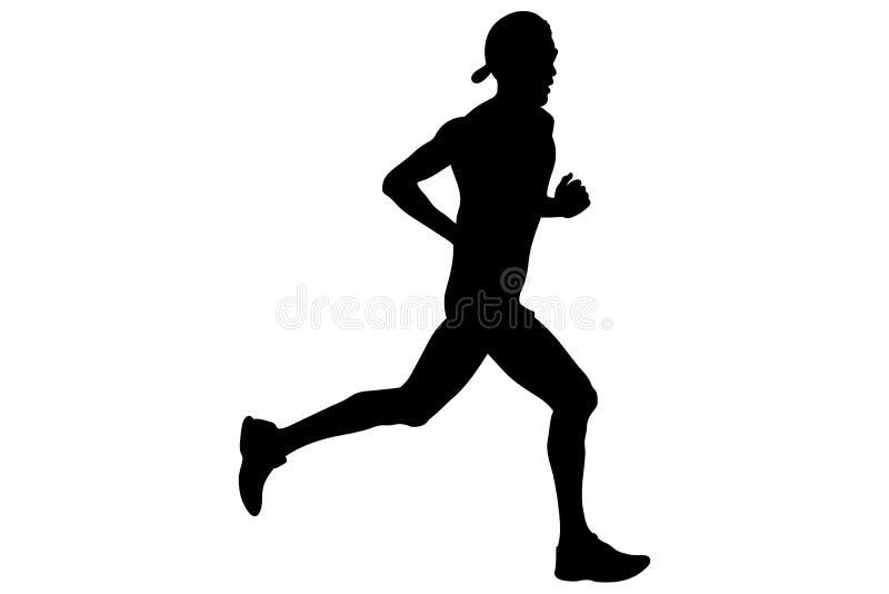 Athlete runner in cap. On head and glasses running black silhouette stock illustration