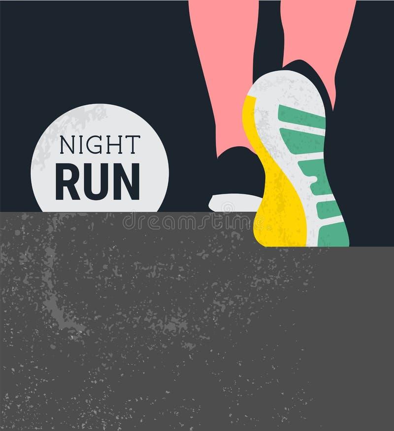 Athlete runner feet running or walking on road . running poster template. closeup illustration vector. nigth run. Athlete runner feet running or walking on road stock illustration