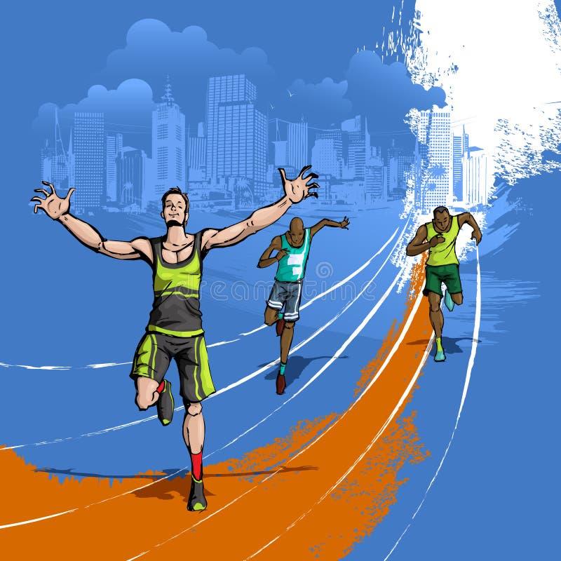 Athlete running on Track stock illustration