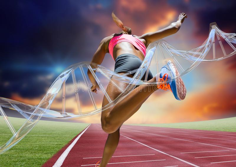 Athlete running on the track behind dna chain. Digital composite of athlete running on the track behind dna chain stock illustration