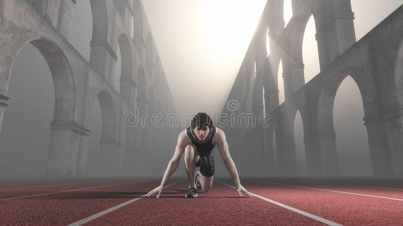 Athlete running track column vector illustration
