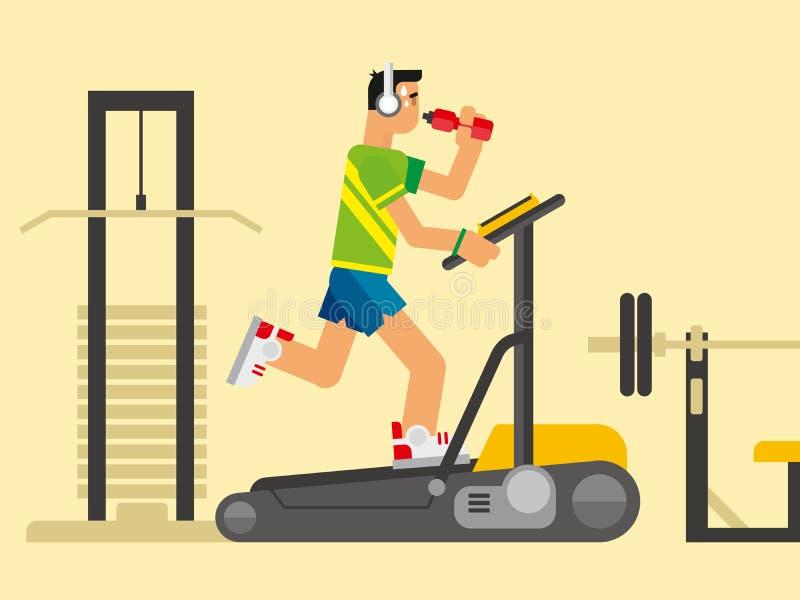 Athlete Running on a Treadmill. Concept flat vetor illustration vector illustration