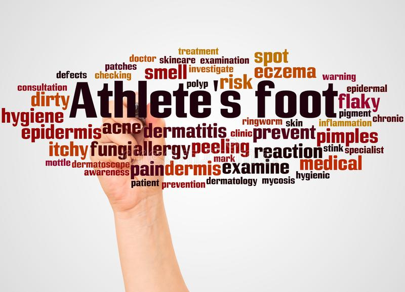 Athlete`s foot word cloud and hand with marker concept stock photography