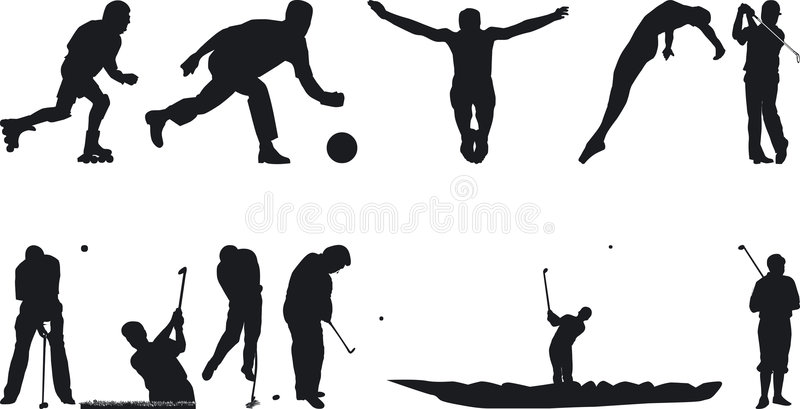 Athlete Silouettes. Illustration of Athlete Silouettes - Vector Format royalty free illustration