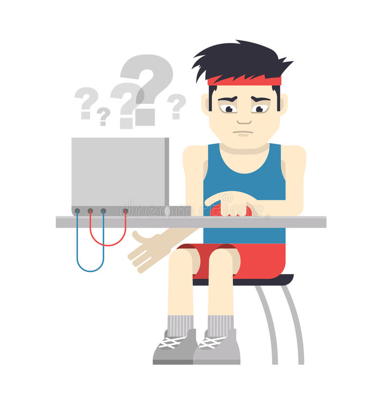 Athlete Sitting at the Computer. Athlete in sportswear is experiencing difficulties when working at the computer. Concept of computer applications for sport stock illustration