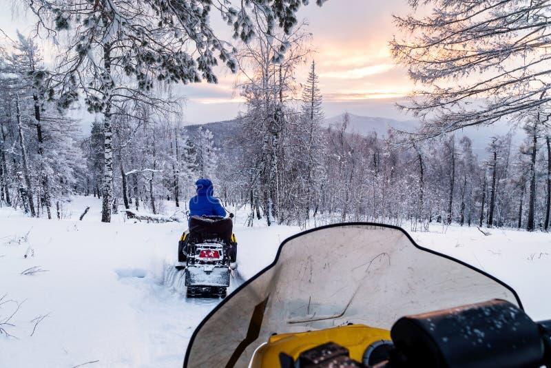 Athlete on a snowmobile royalty free stock photo