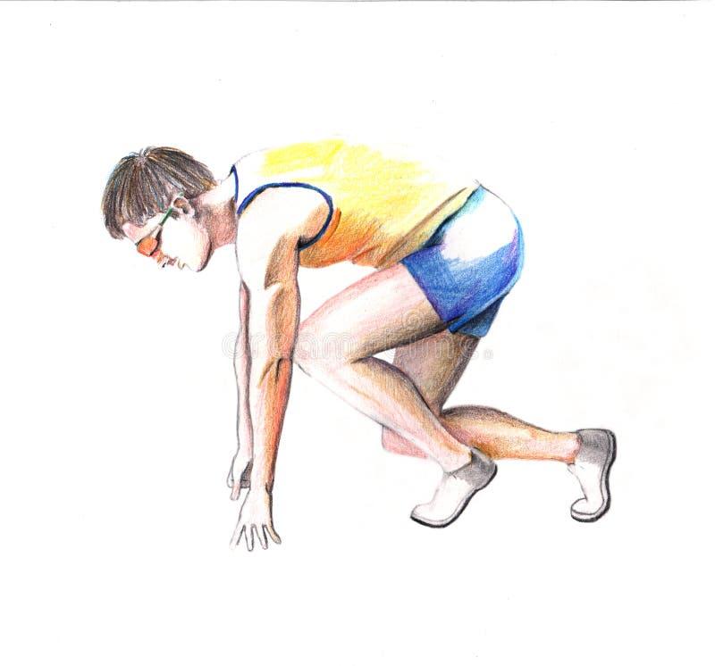 Athlete Sprinting sketch vector illustration