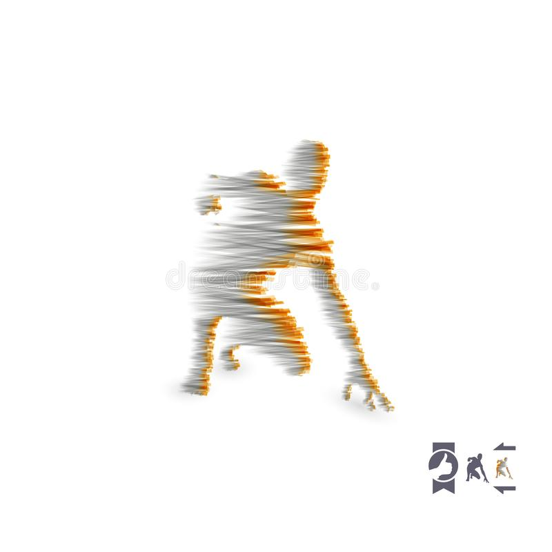 Athlete at starting position ready to start a race. Runner ready for sports exercise. Sport symbol. 3d vector illustration vector illustration