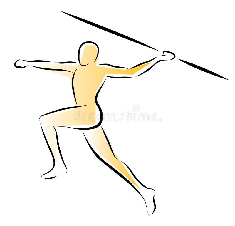 Athlete throwing Javelin royalty free illustration