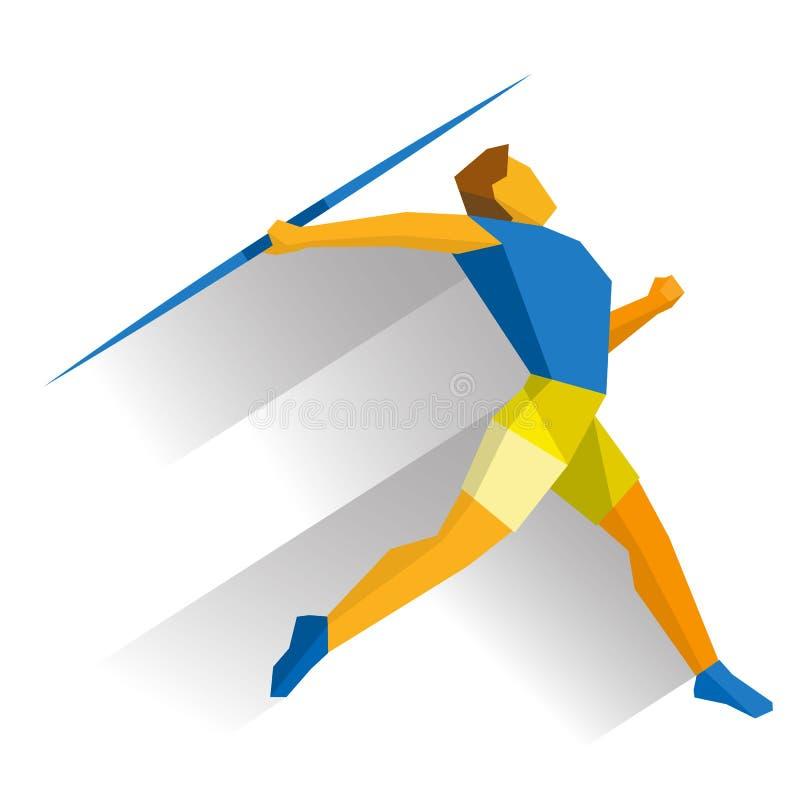 Athlete throwing the javelin on white background royalty free illustration