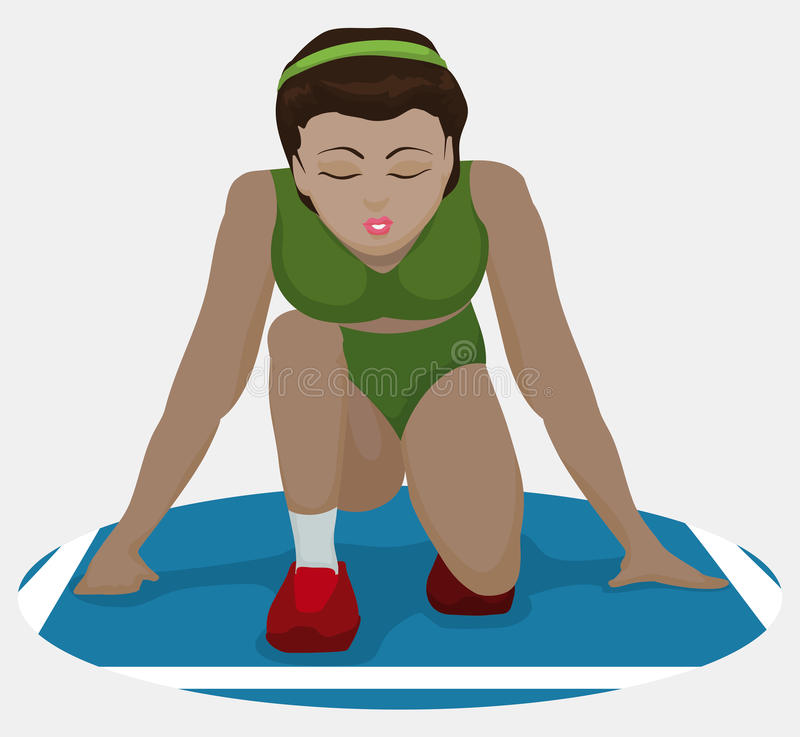 Athlete Visualizing her Victory in Athletics Event, Vector Illustration royalty free illustration