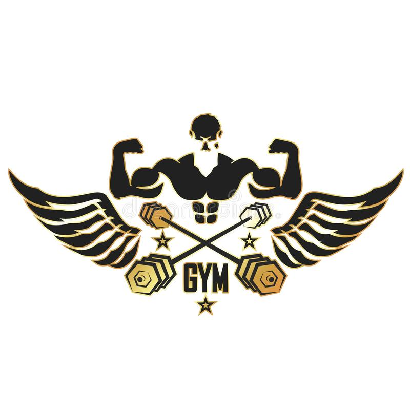 Athlete with wings and dumbbells. Symbol for the gym royalty free illustration