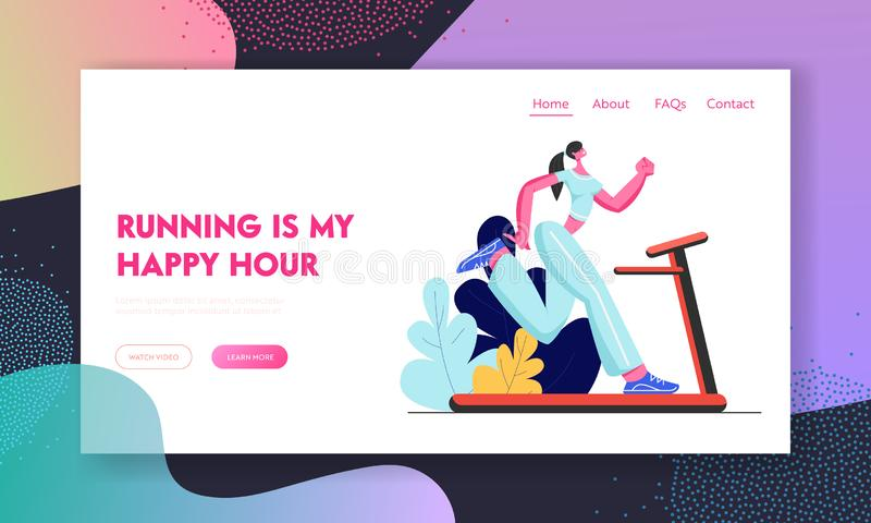 Athlete Woman Character Training on Treadmill, Running Sports Activity, Fitness and Aerobics Lifestyle, Girl Engaging Sport. Website Landing Page, Web Page royalty free illustration