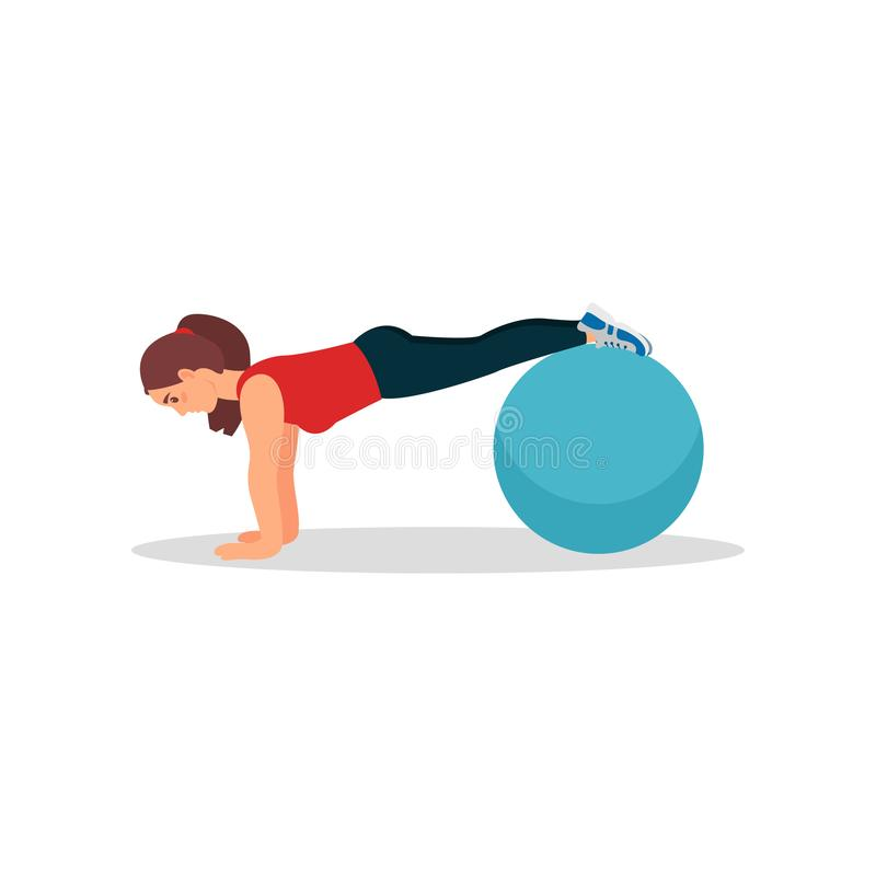 Young athlete woman doing plank exercise using fitness ball. Physical activity and healthy lifestyle. Flat vector design. Athlete woman doing plank exercise vector illustration