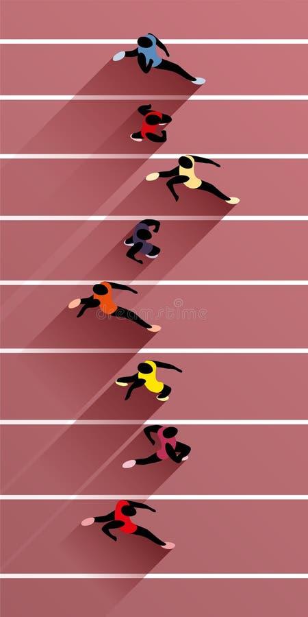 Athleten auf athletischer Rennstrecke vektor abbildung