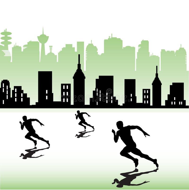 Athleten, die nahe einer Stadt laufen stock abbildung