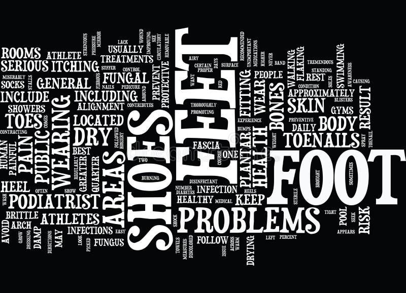Athleten am größeren Risiko für Fuß-Problem-Wort-Wolken-Konzept stock abbildung