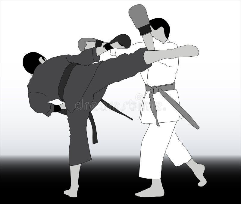 Athleten im unterschiedlichen Kimonokampf auf Mähdrescherhintergrund vektor abbildung